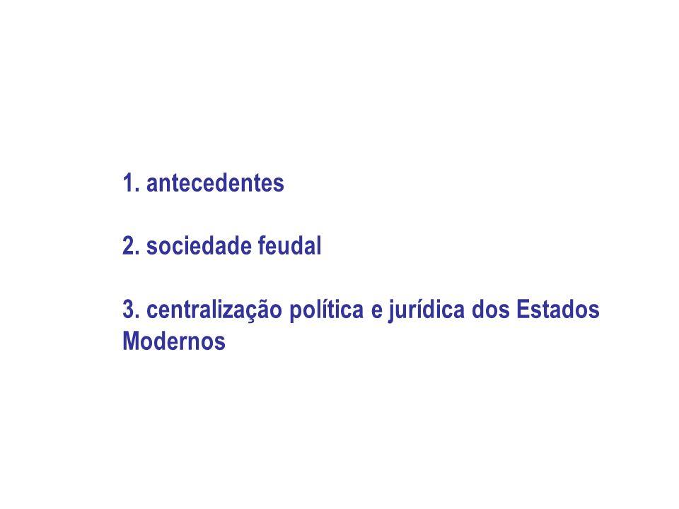 1. antecedentes 2. sociedade feudal 3. centralização política e jurídica dos Estados Modernos