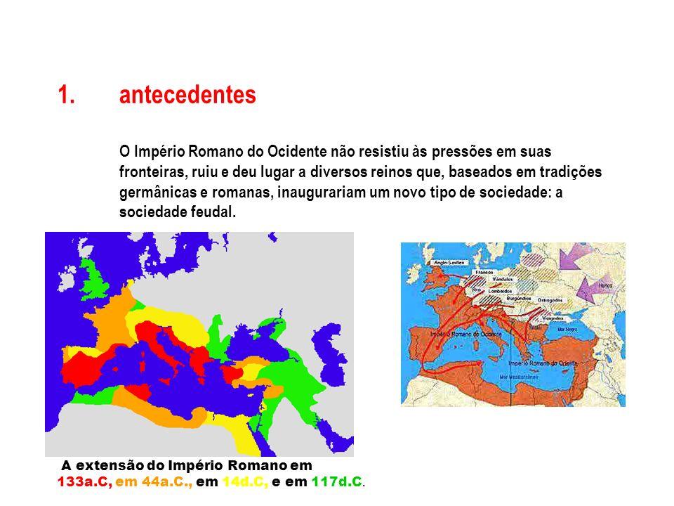 1.antecedentes O Império Romano do Ocidente não resistiu às pressões em suas fronteiras, ruiu e deu lugar a diversos reinos que, baseados em tradições