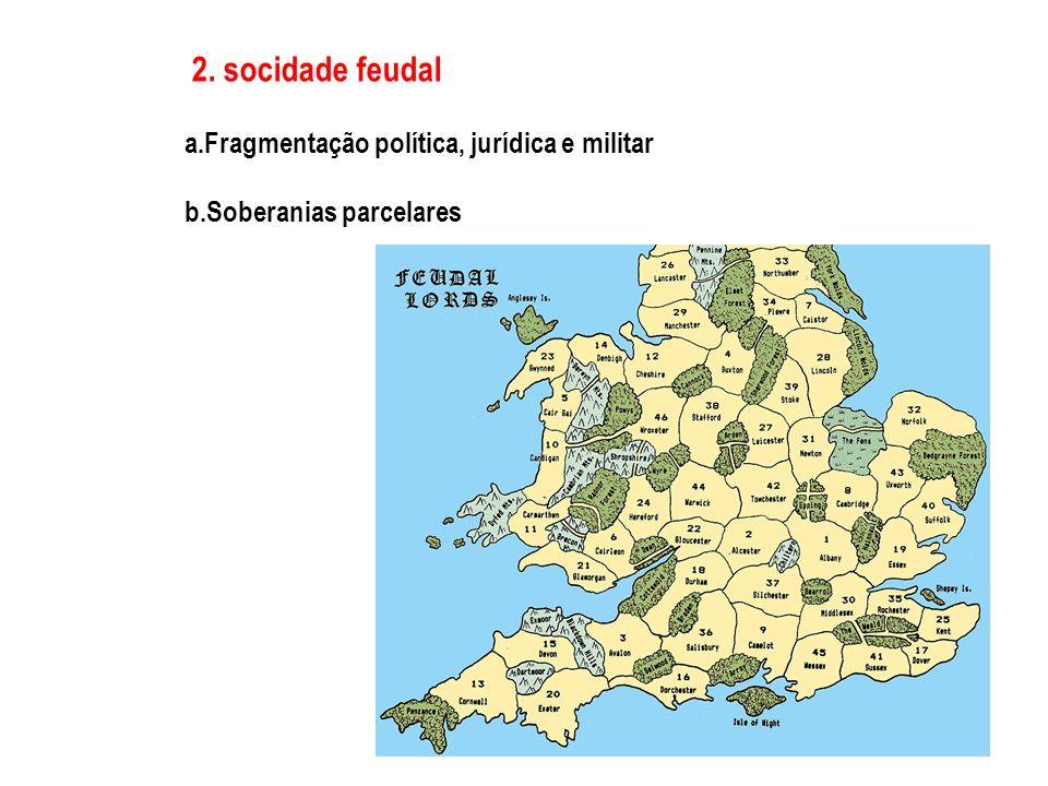 2. socidade feudal a.Fragmentação política, jurídica e militar b.Soberanias parcelares
