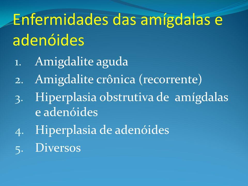 Enfermidades das amígdalas e adenóides 1. Amigdalite aguda 2. Amigdalite crônica (recorrente) 3. Hiperplasia obstrutiva de amígdalas e adenóides 4. Hi