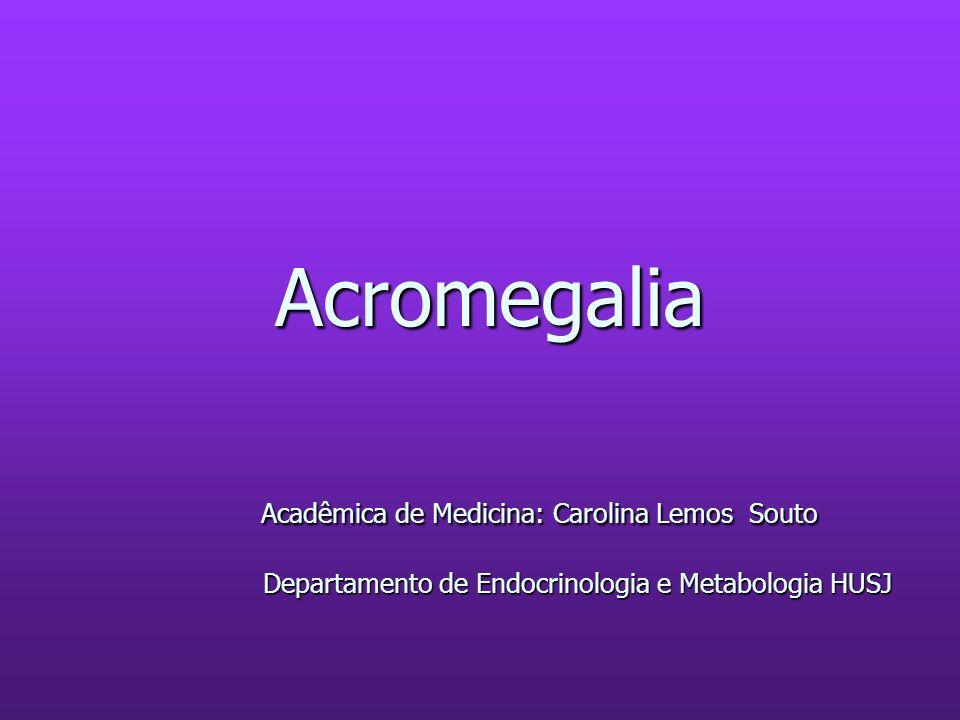 Tratamento medicamentoso 1) Análogos da Somatostatina: 1) Análogos da Somatostatina: - Octreotide: GH<2,5 ng/mL- 30-40% - IGF-I normal- 40-80% - Pela limitação de serem aplicadas três doses por dia surgiu na Europa os análogos de ação prolongada (Lanreotide) - Pela limitação de serem aplicadas três doses por dia surgiu na Europa os análogos de ação prolongada (Lanreotide) 2) Agonistas Dopaminérgicos: 2) Agonistas Dopaminérgicos: - Bromocriptina: GH<2,5 ng/mL- menos que 20% - Bromocriptina: GH<2,5 ng/mL- menos que 20% -IGF-I normal- 10% -IGF-I normal- 10%