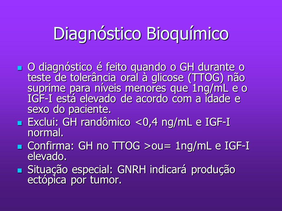 Diagnóstico Bioquímico O diagnóstico é feito quando o GH durante o teste de tolerância oral à glicose (TTOG) não suprime para níveis menores que 1ng/m