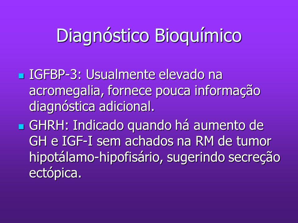 Diagnóstico Bioquímico IGFBP-3: Usualmente elevado na acromegalia, fornece pouca informação diagnóstica adicional. IGFBP-3: Usualmente elevado na acro