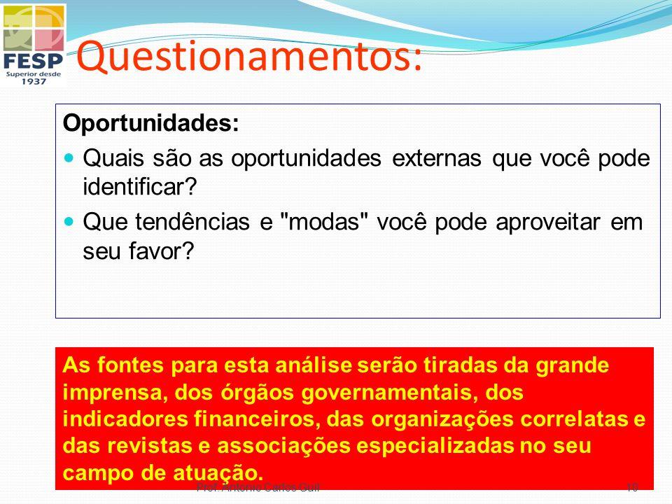 Questionamentos: Oportunidades: Quais são as oportunidades externas que você pode identificar.