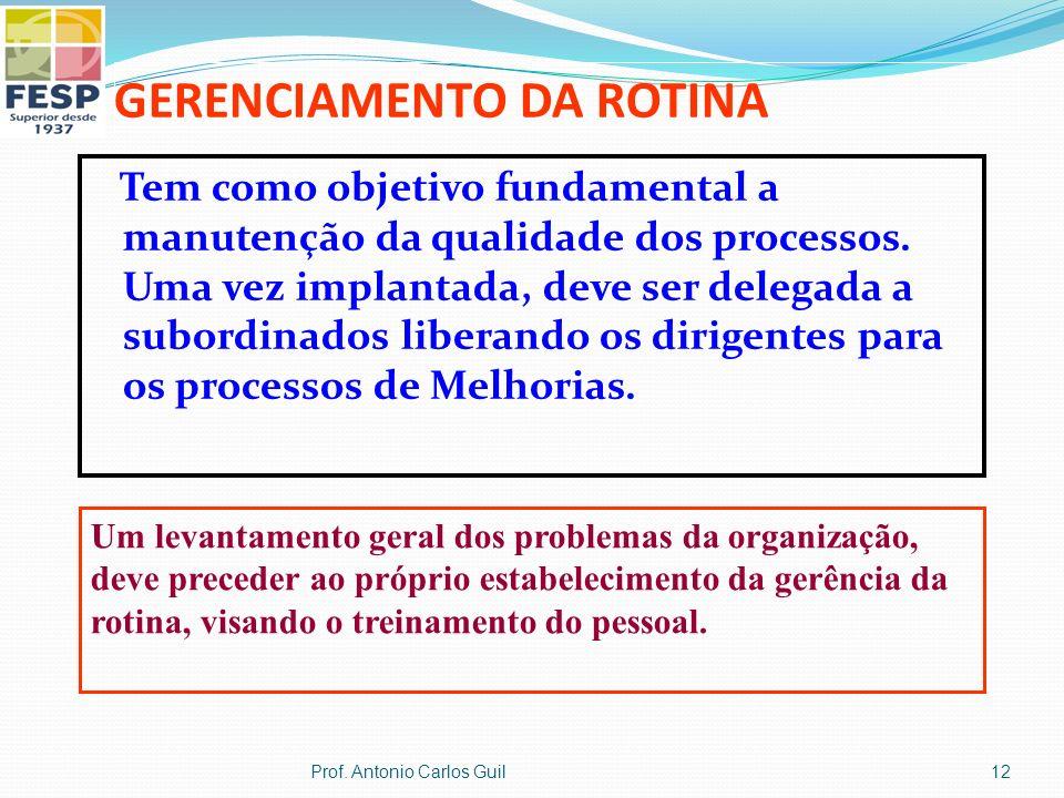 GERENCIAMENTO DA ROTINA Tem como objetivo fundamental a manutenção da qualidade dos processos. Uma vez implantada, deve ser delegada a subordinados li