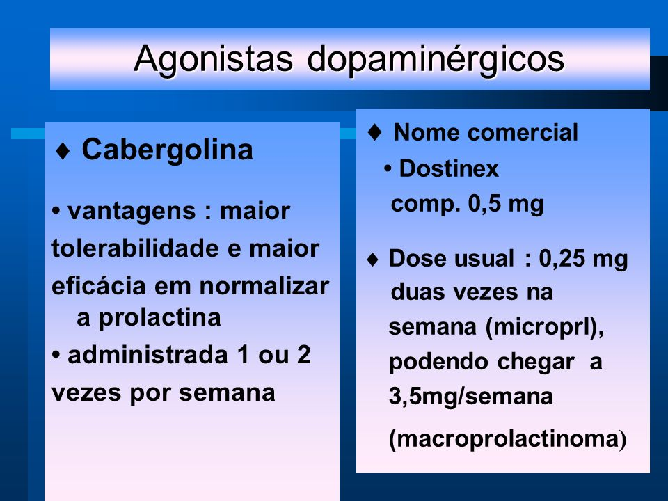 Agonistas dopaminérgicos Cabergolina vantagens : maior tolerabilidade e maior eficácia em normalizar a prolactina administrada 1 ou 2 vezes por semana Nome comercial Dostinex comp.