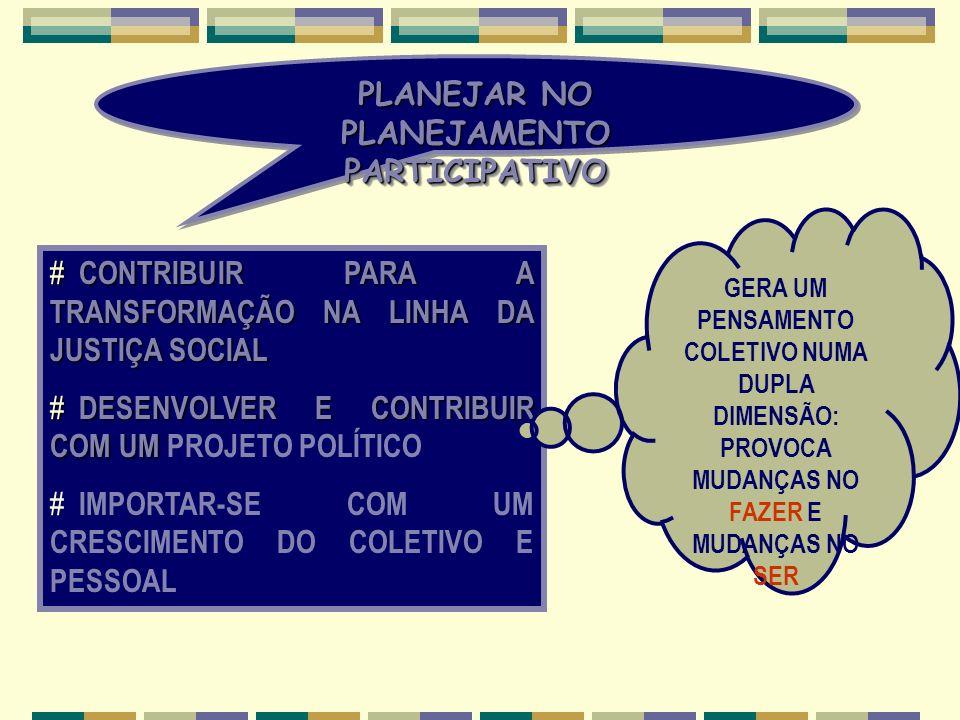 PLANEJAR NO PLANEJAMENTO PARTICIPATIVO # CONTRIBUIR PARA A TRANSFORMAÇÃO NA LINHA DA JUSTIÇA SOCIAL # DESENVOLVER E CONTRIBUIR COM UM # DESENVOLVER E