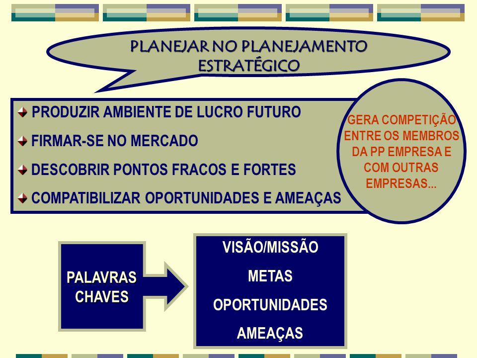 PLANEJAR NO PLANEJAMENTO ESTRATÉGICO PRODUZIR AMBIENTE DE LUCRO FUTURO FIRMAR-SE NO MERCADO DESCOBRIR PONTOS FRACOS E FORTES COMPATIBILIZAR OPORTUNIDA