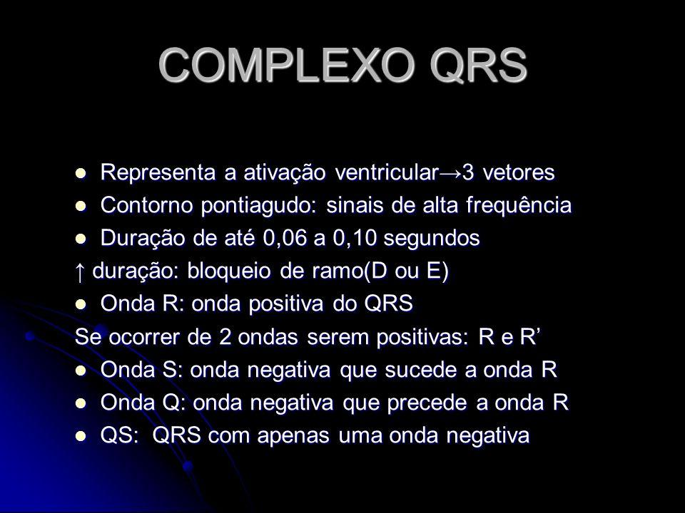 COMPLEXO QRS Representa a ativação ventricular3 vetores Representa a ativação ventricular3 vetores Contorno pontiagudo: sinais de alta frequência Cont