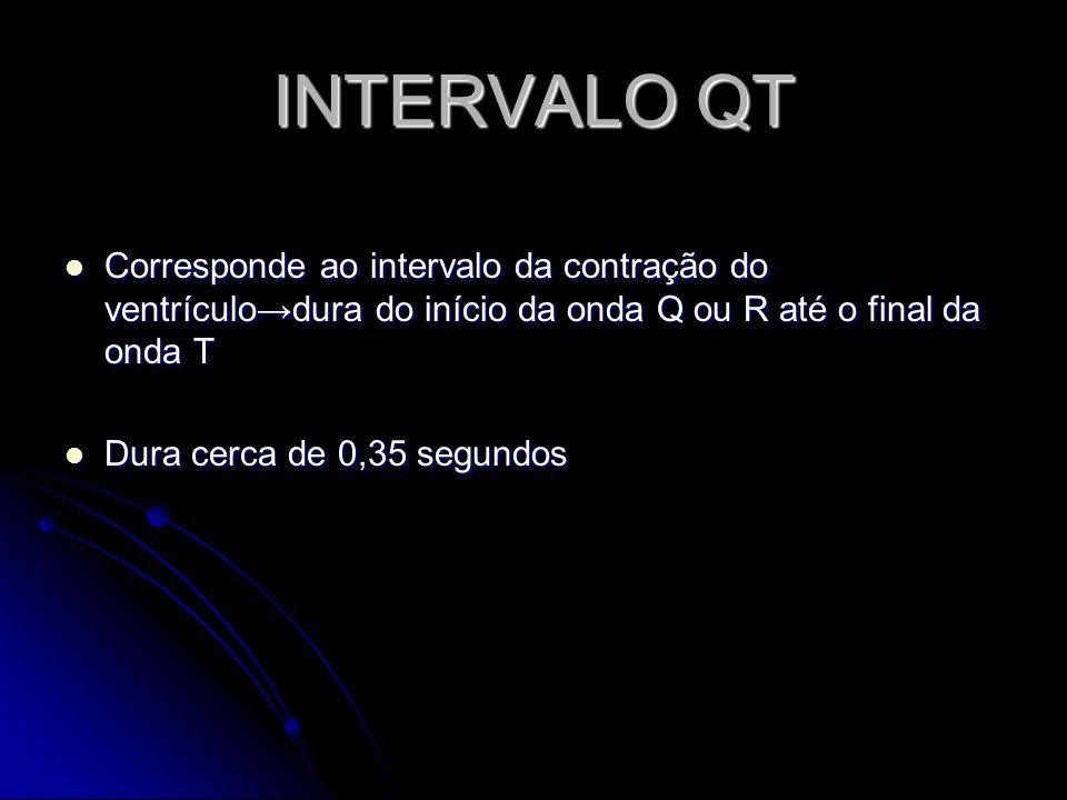 INTERVALO QT Corresponde ao intervalo da contração do ventrículodura do início da onda Q ou R até o final da onda T Corresponde ao intervalo da contra