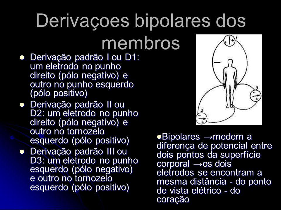 Derivaçoes bipolares dos membros Derivação padrão I ou D1: um eletrodo no punho direito (pólo negativo) e outro no punho esquerdo (pólo positivo) Deri