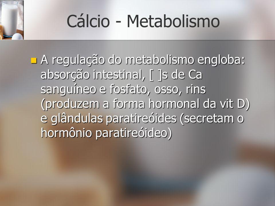 Cálcio - Metabolismo A regulação do metabolismo engloba: absorção intestinal, [ ]s de Ca sanguíneo e fosfato, osso, rins (produzem a forma hormonal da
