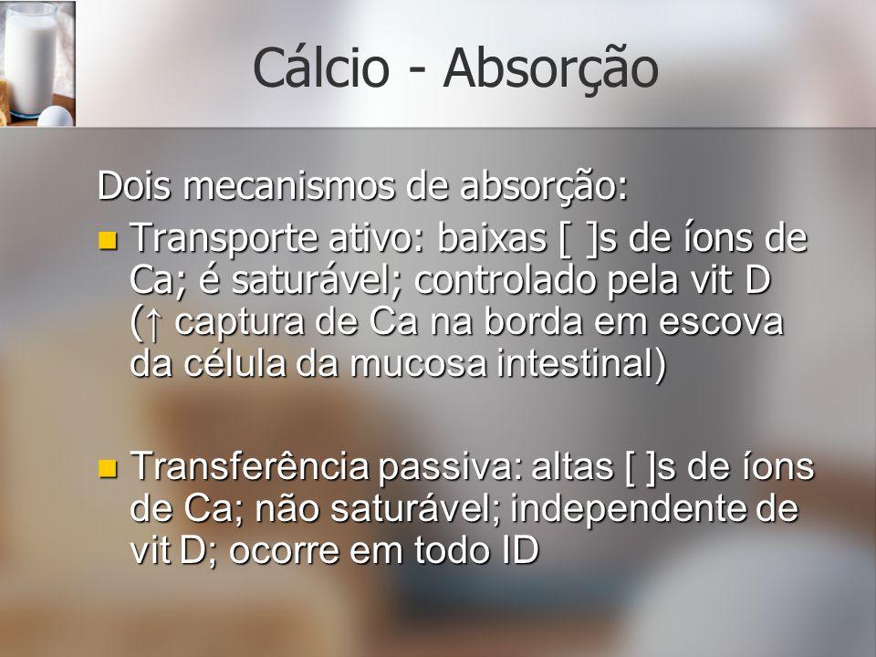 Cálcio - Absorção Dois mecanismos de absorção: Transporte ativo: baixas [ ]s de íons de Ca; é saturável; controlado pela vit D ( captura de Ca na bord