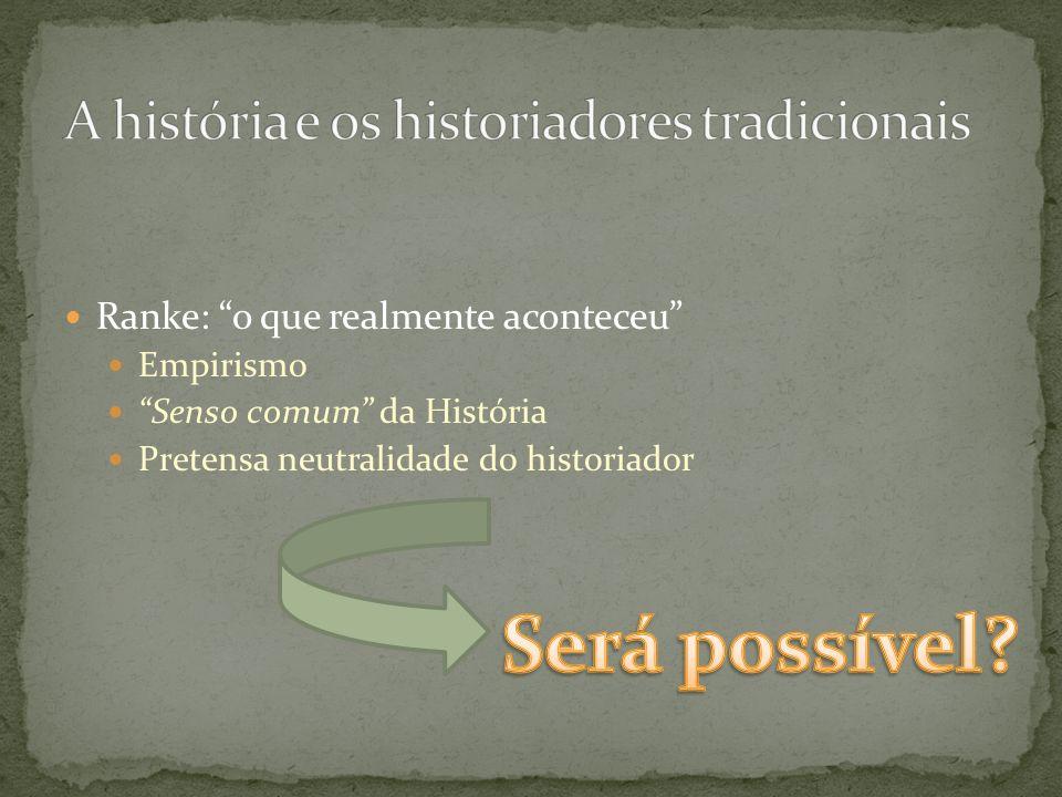 Ranke: o que realmente aconteceu Empirismo Senso comum da História Pretensa neutralidade do historiador