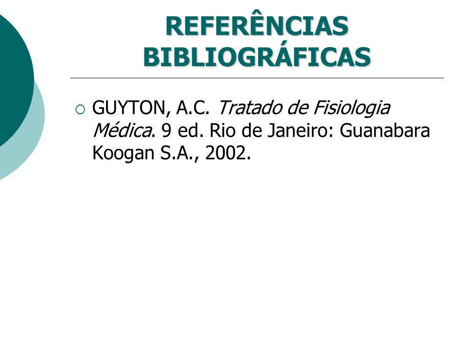 REFERÊNCIAS BIBLIOGRÁFICAS GUYTON, A.C. Tratado de Fisiologia Médica. 9 ed. Rio de Janeiro: Guanabara Koogan S.A., 2002.
