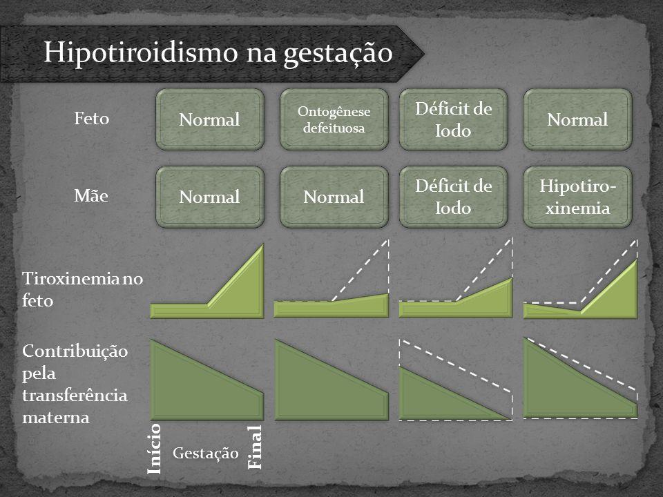 Tiroxinemia no feto Contribuição pela transferência materna Normal Hipotiro- xinemia Déficit de Iodo Ontogênese defeituosa Feto Mãe Início Final Gesta