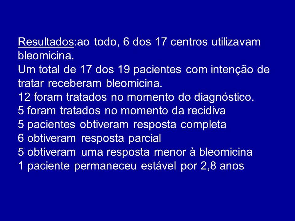 Resultados:ao todo, 6 dos 17 centros utilizavam bleomicina.