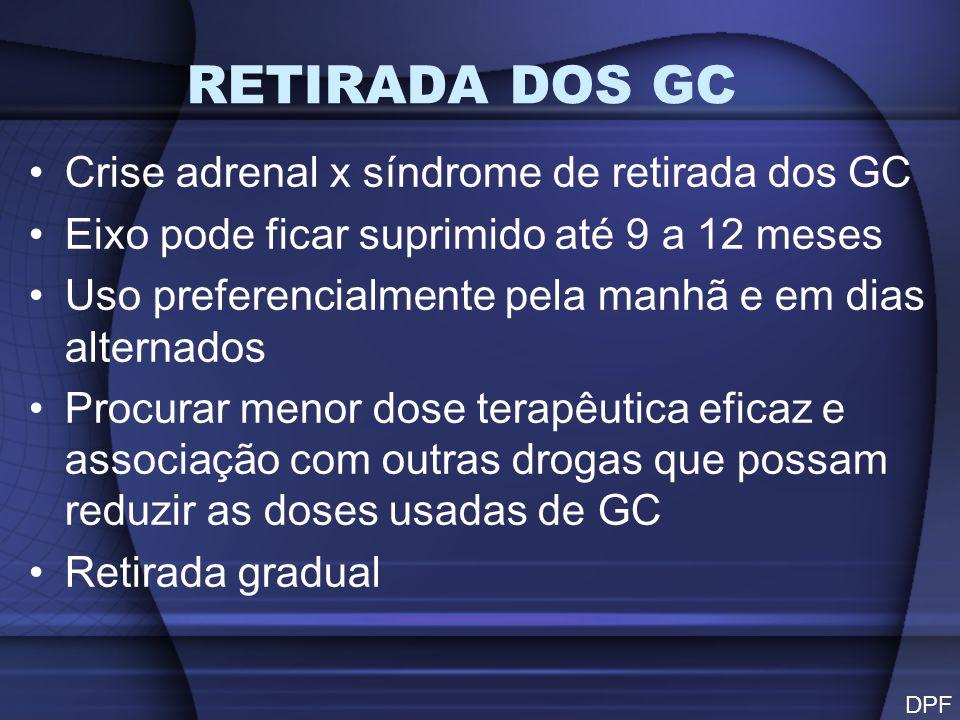 RETIRADA DOS GC Crise adrenal x síndrome de retirada dos GC Eixo pode ficar suprimido até 9 a 12 meses Uso preferencialmente pela manhã e em dias alte