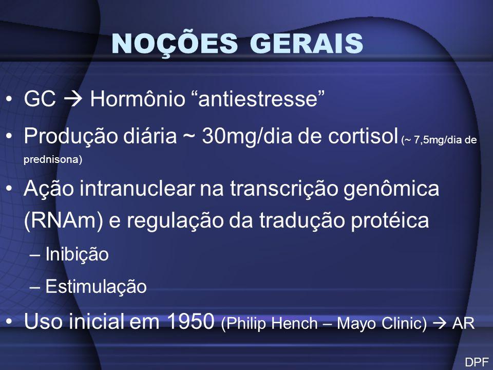 NOÇÕES GERAIS GC Hormônio antiestresse Produção diária ~ 30mg/dia de cortisol (~ 7,5mg/dia de prednisona) Ação intranuclear na transcrição genômica (R