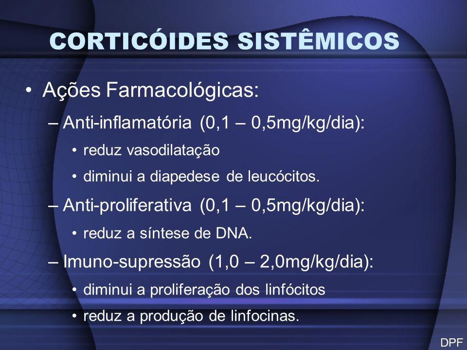 PRINCIPAIS INDICAÇÕES Processos inflamatórios Processos alérgicos Processos auto- imunes Doses usualmente elevadas Tempo usualmente excessivo DPF