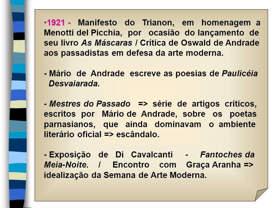 1921 -1921 - Manifesto do Trianon, em homenagem a Menotti del Picchia, por ocasião do lançamento de seu livro As Máscaras / Crítica de Oswald de Andra