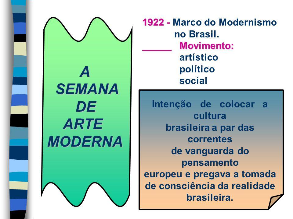 A SEMANA SEMANA DE DE ARTE ARTEMODERNA 1922 - 1922 - Marco do Modernismo no Brasil. Movimento: Movimento: artístico político social Intenção de coloca