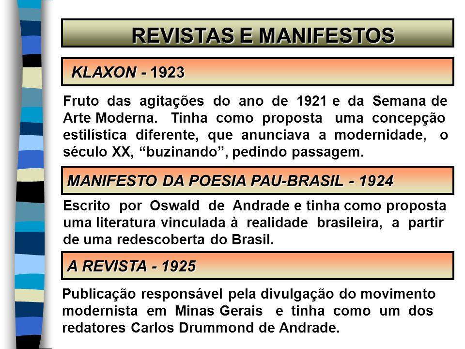 REVISTAS E MANIFESTOS REVISTAS E MANIFESTOS KLAXON - 1923 KLAXON - 1923 A REVISTA - 1925 MANIFESTO DA POESIA PAU-BRASIL - 1924 Fruto das agitações do