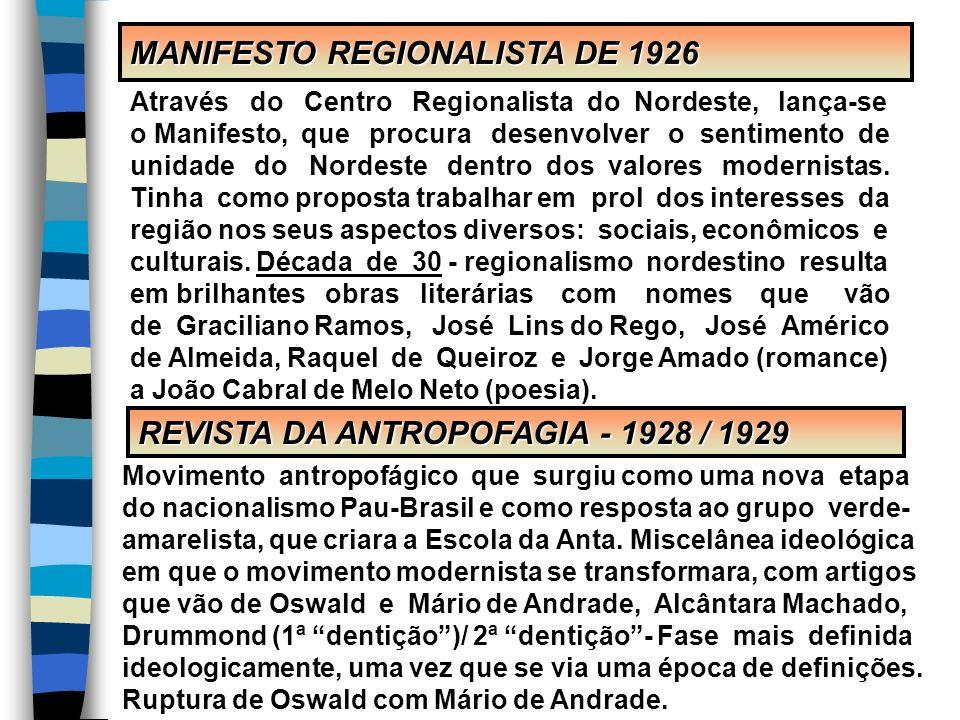 MANIFESTO REGIONALISTA DE 1926 REVISTA DA ANTROPOFAGIA - 1928 / 1929 Através do Centro Regionalista do Nordeste, lança-se o Manifesto, que procura des