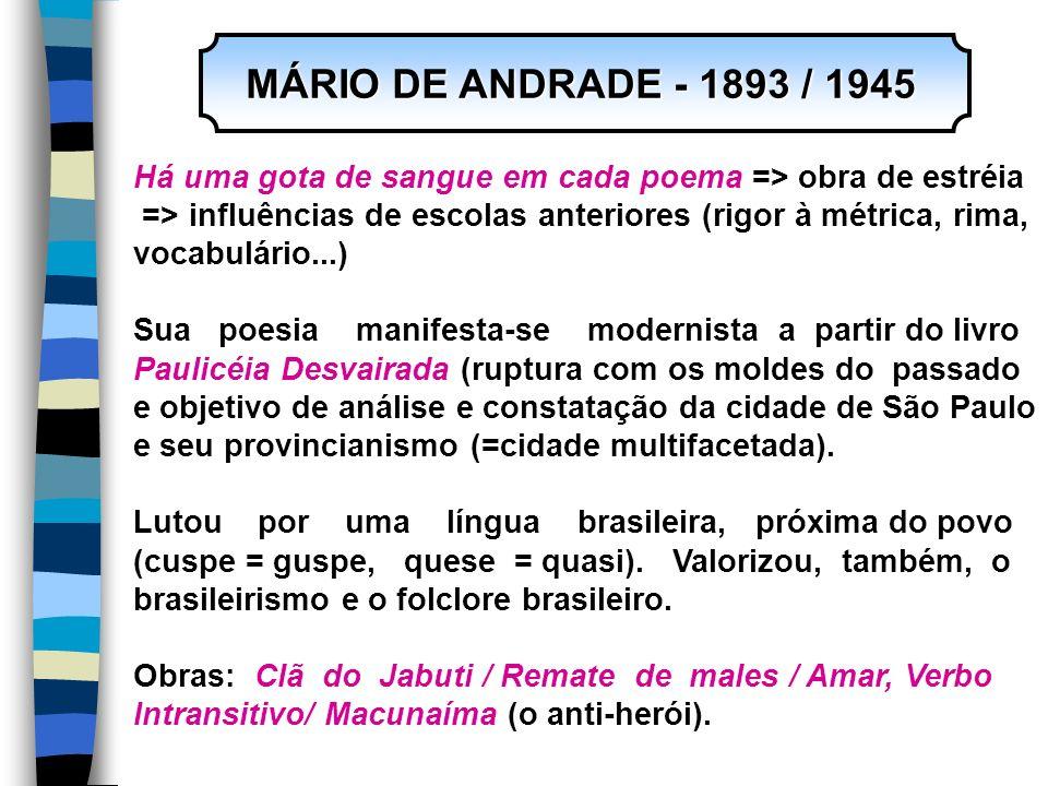 MÁRIO DE ANDRADE - 1893 / 1945 MÁRIO DE ANDRADE - 1893 / 1945 Há uma gota de sangue em cada poema => obra de estréia => influências de escolas anterio