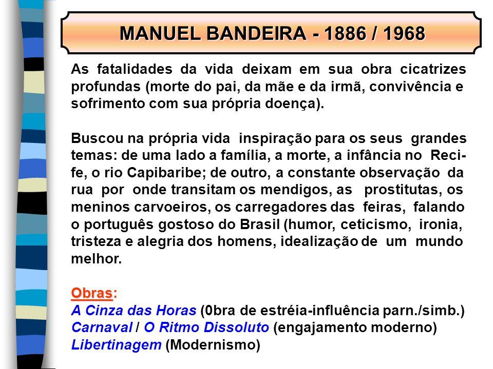 MANUEL BANDEIRA - 1886 / 1968 MANUEL BANDEIRA - 1886 / 1968 As fatalidades da vida deixam em sua obra cicatrizes profundas (morte do pai, da mãe e da