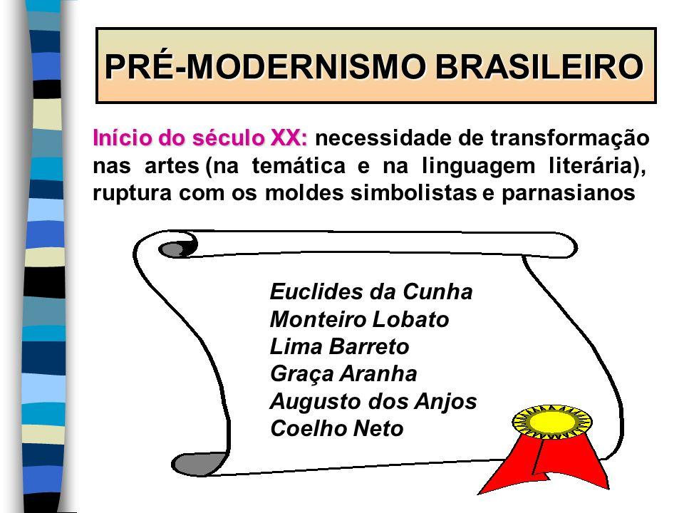 PRÉ-MODERNISMO BRASILEIRO Início do século XX: Início do século XX: necessidade de transformação nas artes (na temática e na linguagem literária), rup