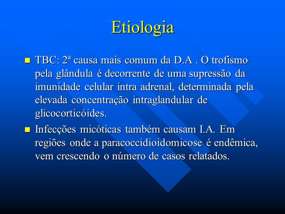 Etiologia TBC: 2ª causa mais comum da D.A. O trofismo pela glândula é decorrente de uma supressão da imunidade celular intra adrenal, determinada pela