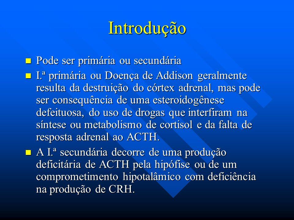 Introdução Pode ser primária ou secundária Pode ser primária ou secundária I.ª primária ou Doença de Addison geralmente resulta da destruição do córte