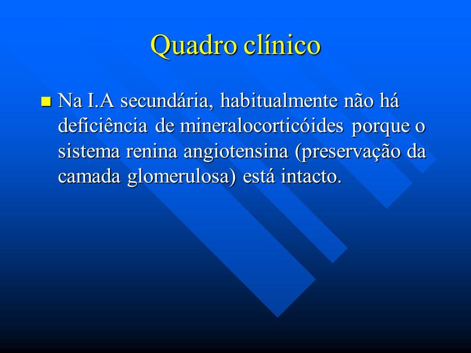 Quadro clínico Na I.A secundária, habitualmente não há deficiência de mineralocorticóides porque o sistema renina angiotensina (preservação da camada