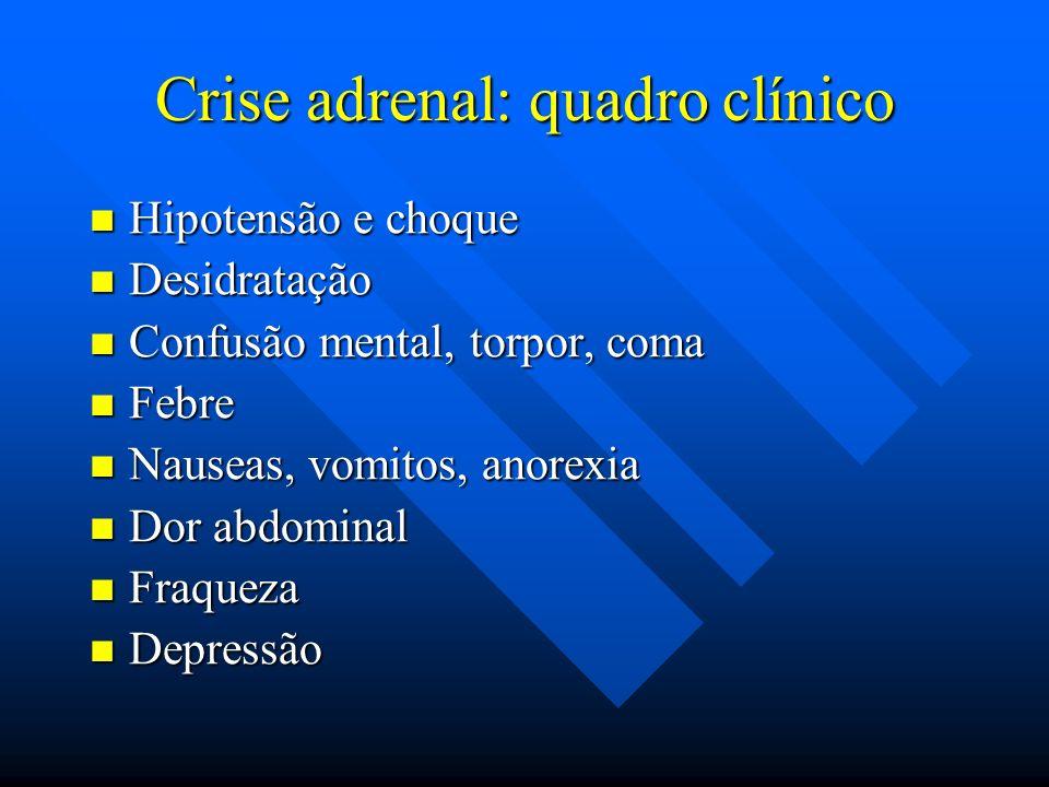 Crise adrenal: quadro clínico Hipotensão e choque Hipotensão e choque Desidratação Desidratação Confusão mental, torpor, coma Confusão mental, torpor,
