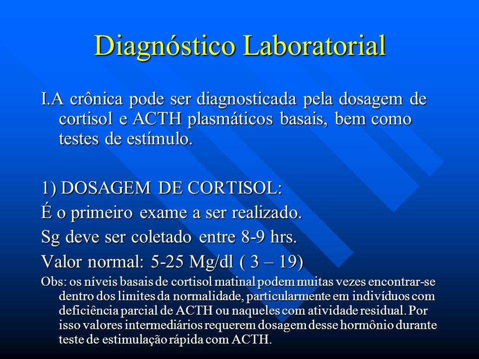 Diagnóstico Laboratorial I.A crônica pode ser diagnosticada pela dosagem de cortisol e ACTH plasmáticos basais, bem como testes de estímulo. 1) DOSAGE