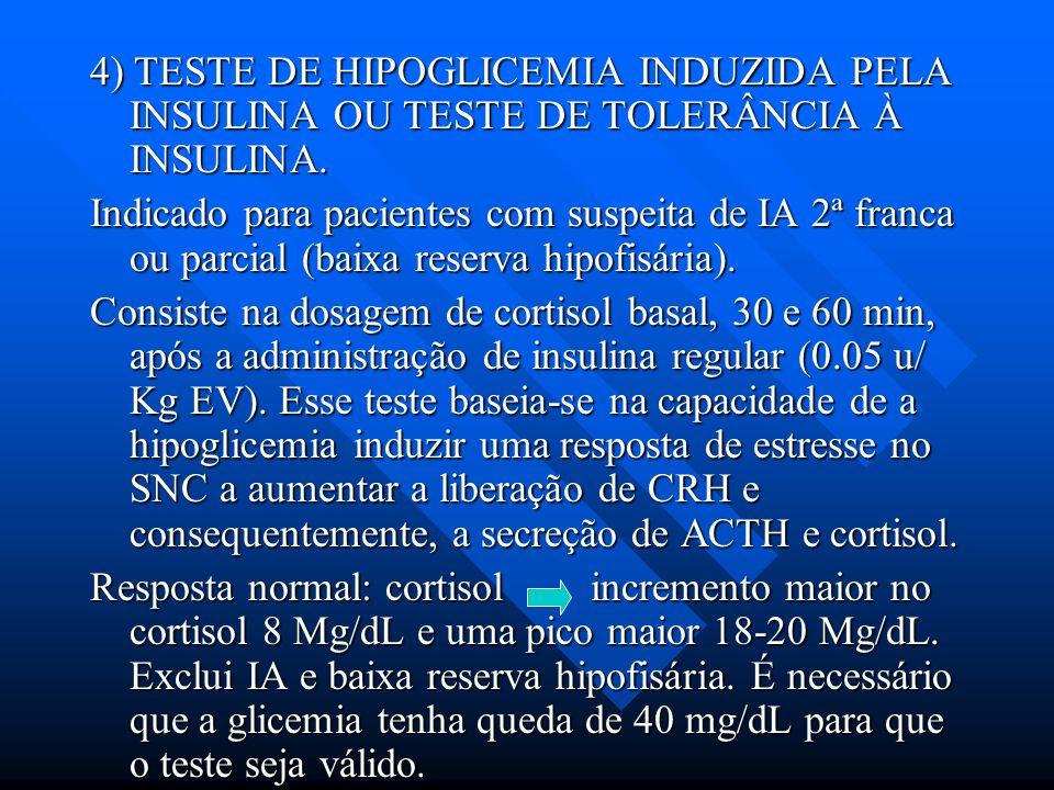 4) TESTE DE HIPOGLICEMIA INDUZIDA PELA INSULINA OU TESTE DE TOLERÂNCIA À INSULINA. Indicado para pacientes com suspeita de IA 2ª franca ou parcial (ba