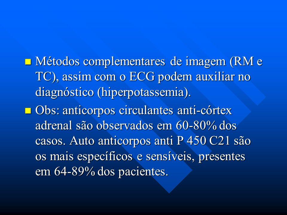 Métodos complementares de imagem (RM e TC), assim com o ECG podem auxiliar no diagnóstico (hiperpotassemia). Métodos complementares de imagem (RM e TC