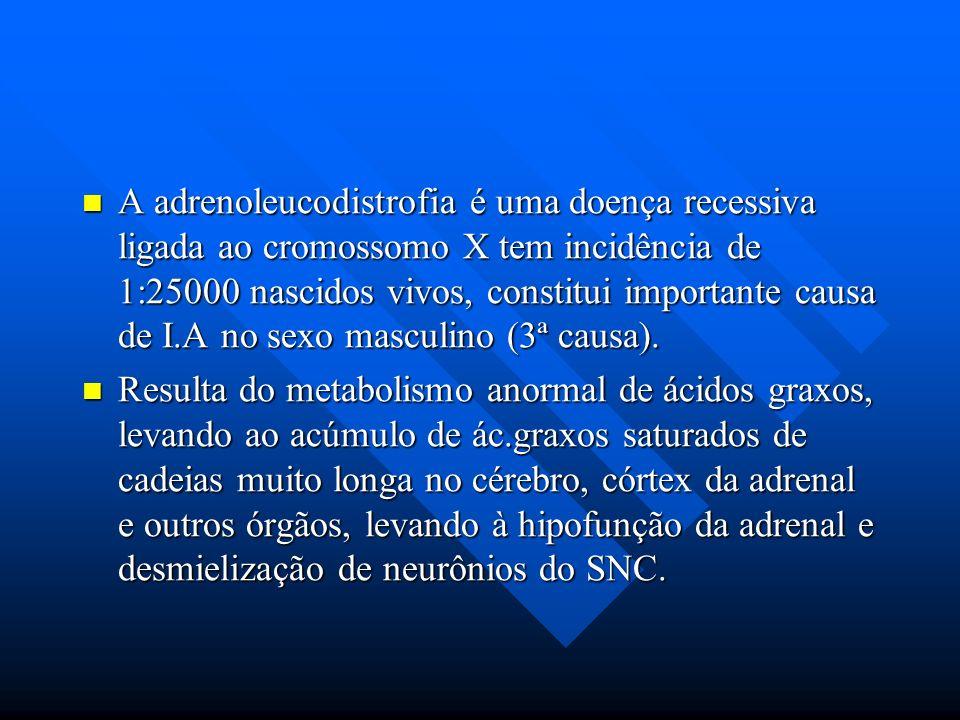 A adrenoleucodistrofia é uma doença recessiva ligada ao cromossomo X tem incidência de 1:25000 nascidos vivos, constitui importante causa de I.A no se
