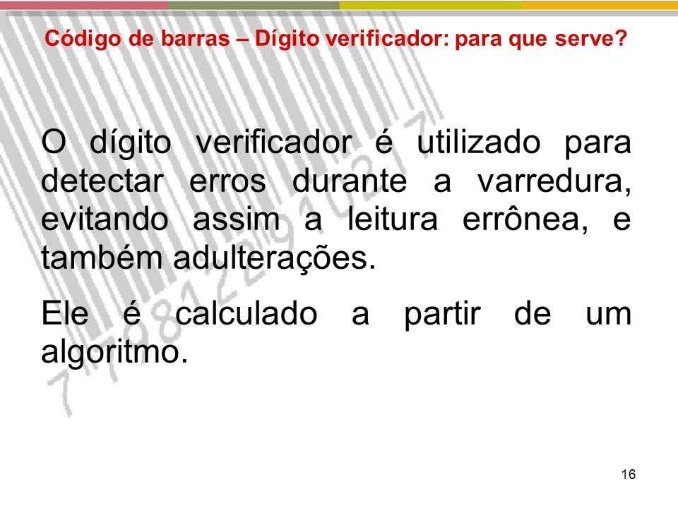 16 Código de barras – Dígito verificador: para que serve.