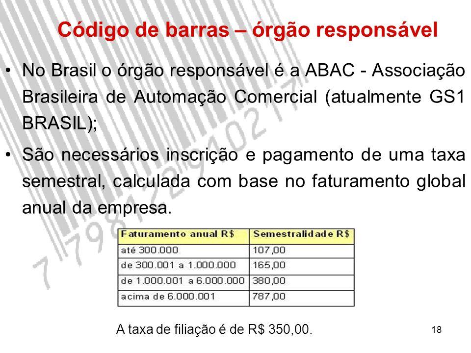 18 No Brasil o órgão responsável é a ABAC - Associação Brasileira de Automação Comercial (atualmente GS1 BRASIL); São necessários inscrição e pagamento de uma taxa semestral, calculada com base no faturamento global anual da empresa.