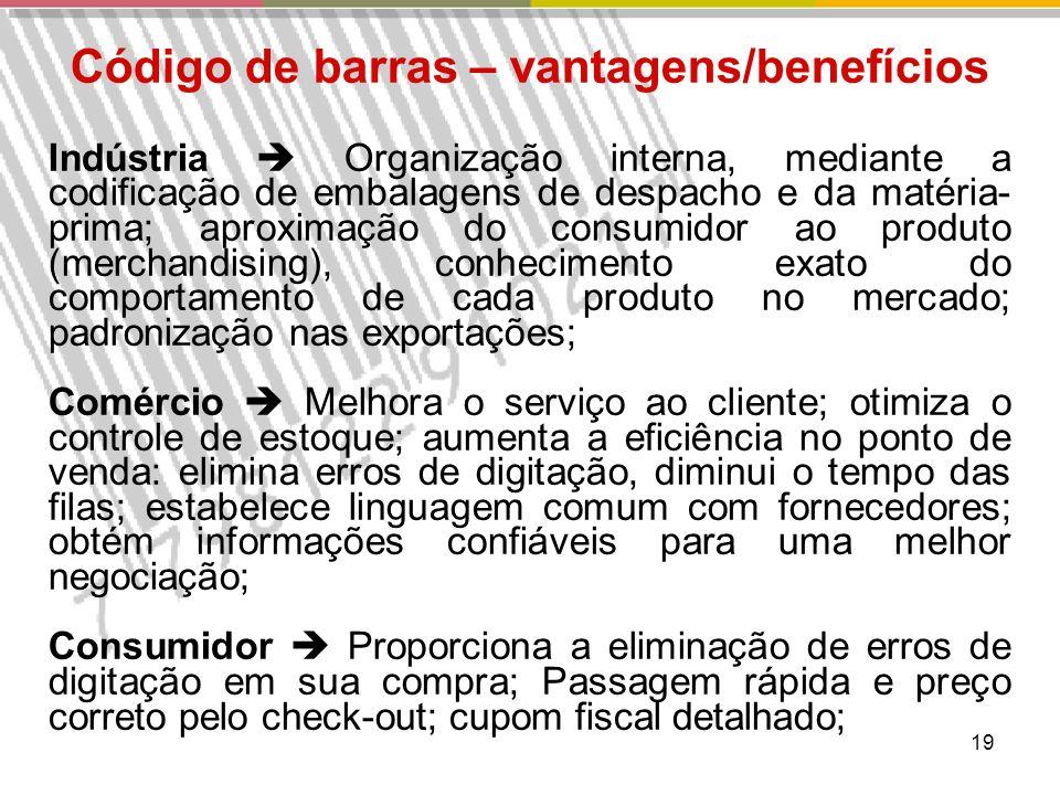19 Código de barras – vantagens/benefícios Indústria Organização interna, mediante a codificação de embalagens de despacho e da matéria- prima; aproximação do consumidor ao produto (merchandising), conhecimento exato do comportamento de cada produto no mercado; padronização nas exportações; Comércio Melhora o serviço ao cliente; otimiza o controle de estoque; aumenta a eficiência no ponto de venda: elimina erros de digitação, diminui o tempo das filas; estabelece linguagem comum com fornecedores; obtém informações confiáveis para uma melhor negociação; Consumidor Proporciona a eliminação de erros de digitação em sua compra; Passagem rápida e preço correto pelo check-out; cupom fiscal detalhado;