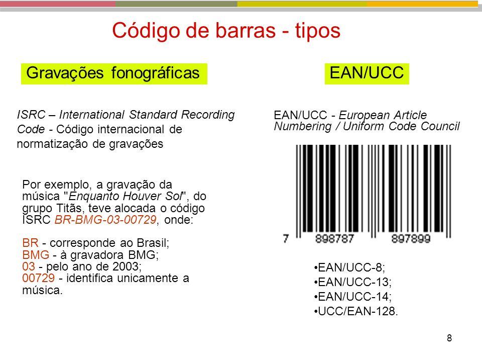 8 Por exemplo, a gravação da música Enquanto Houver Sol , do grupo Titãs, teve alocada o código ISRC BR-BMG-03-00729, onde: BR - corresponde ao Brasil; BMG - à gravadora BMG; 03 - pelo ano de 2003; 00729 - identifica unicamente a música.