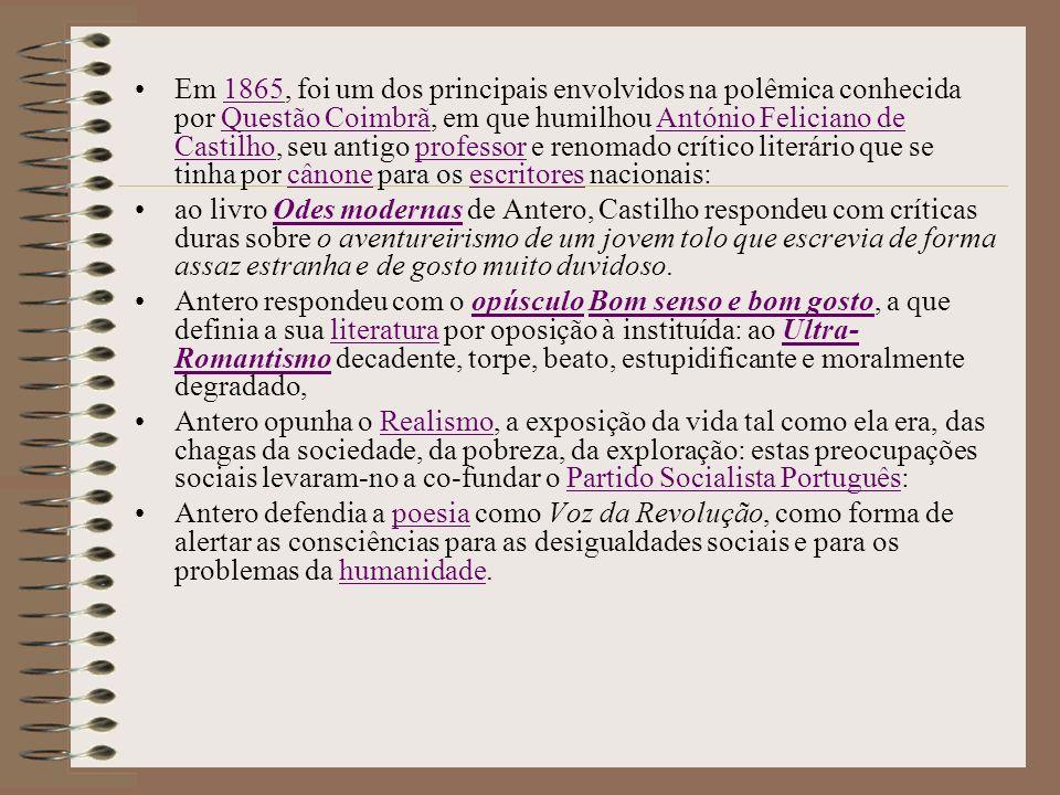 Questão Coimbrã António Feliciano de Castilho Antero de Quental