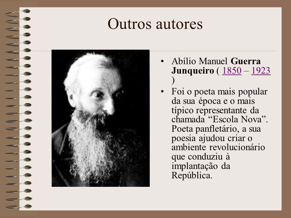 Outros autores Júlio Dinis, pseudónimo de Joaquim Guilherme Gomes Coelho (1839 – 1871) foi um médico e escritor português.. É por muitos considerado c