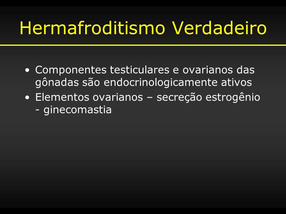 Hermafroditismo Verdadeiro Componentes testiculares e ovarianos das gônadas são endocrinologicamente ativos Elementos ovarianos – secreção estrogênio
