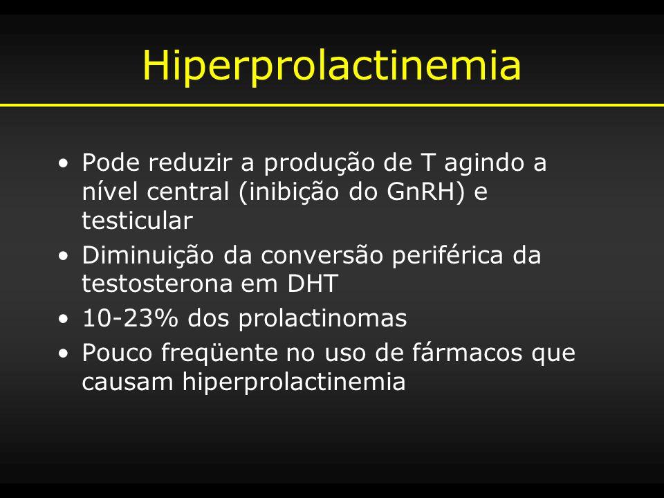 Hiperprolactinemia Pode reduzir a produção de T agindo a nível central (inibição do GnRH) e testicular Diminuição da conversão periférica da testoster