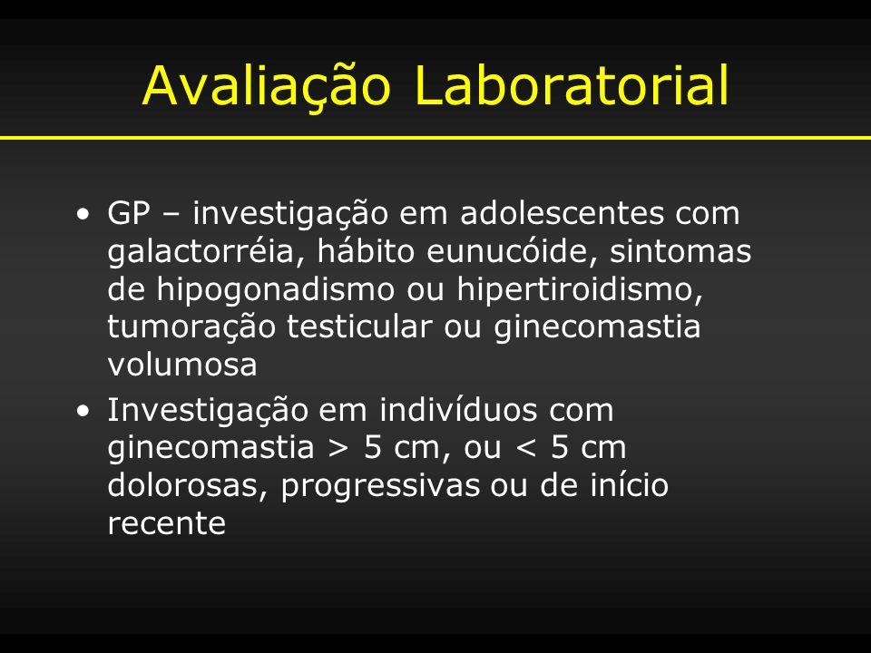 Avaliação Laboratorial GP – investigação em adolescentes com galactorréia, hábito eunucóide, sintomas de hipogonadismo ou hipertiroidismo, tumoração t