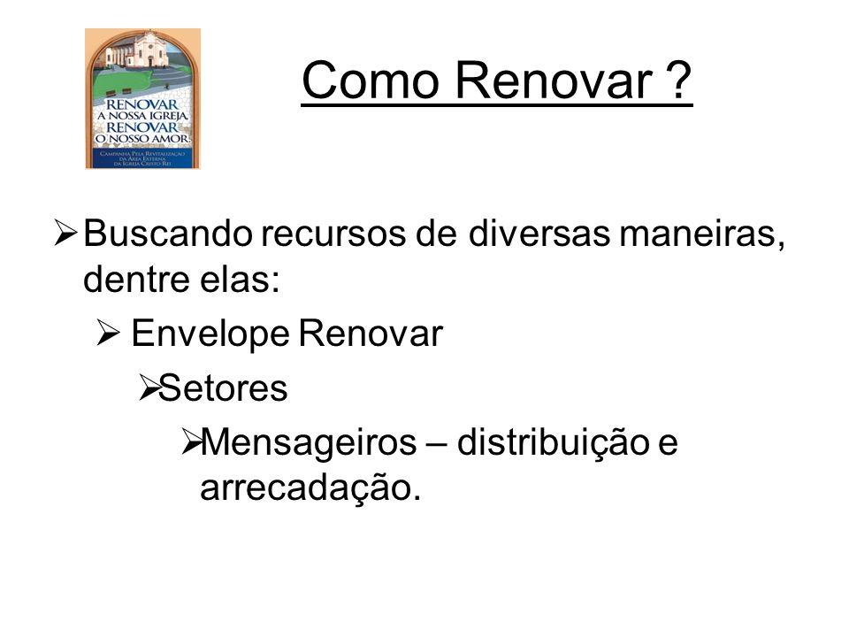 Como Renovar ? Buscando recursos de diversas maneiras, dentre elas: Envelope Renovar Setores Mensageiros – distribuição e arrecadação.