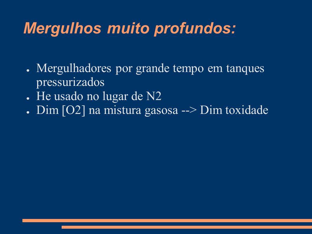 Mergulhos muito profundos: Mergulhadores por grande tempo em tanques pressurizados He usado no lugar de N2 Dim [O2] na mistura gasosa --> Dim toxidade